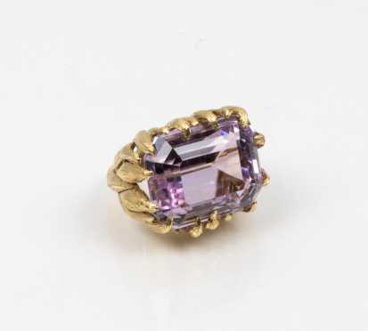 Commanding 18K and Amethyst Cocktail Ring