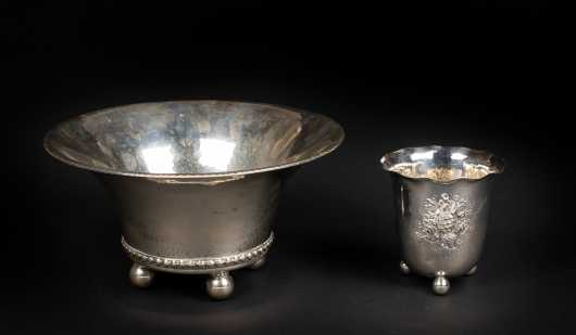 Two Swedish Sterling Silver Ball Footed Bowls