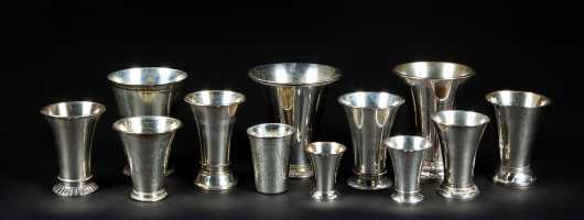 Twelve Swedish Sterling Drinking Vessels