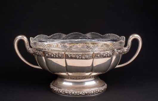 Oval Swedish Silver Serving Dish with Cut Glass Liner