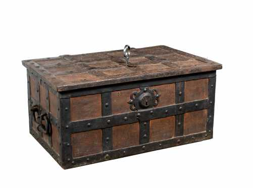 17thC or Earlier Wrought Iron Armada Chest