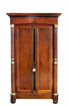 French Empire Two Door Inlaid Cabinet