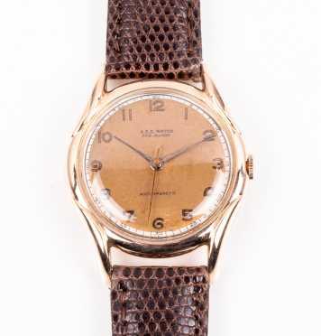 Mens 18K Rose Gold Wrist Watch