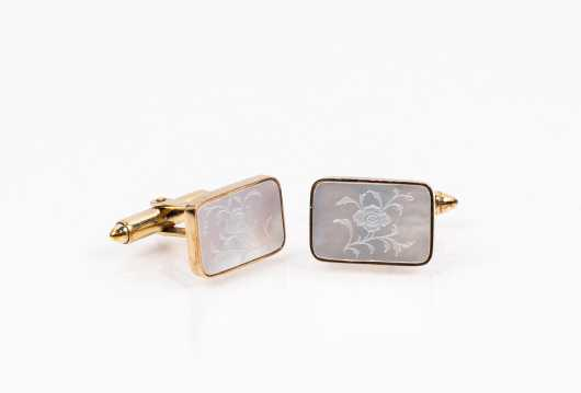 Men's 14K and Mother of Pearl Cufflinks