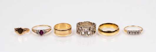 Lot of Six Gold Rings