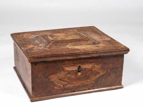 German 17th/18thC Oak Bible Box with Applied Moldings Decoration