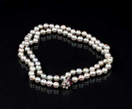 Matinee Knotted Grey and Champagne Pearl Strand