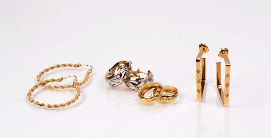 Four Pairs of 14K Yellow Gold Hoops
