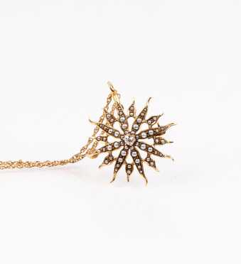 Antique Seed Pearl and Diamond Brooch Pendant