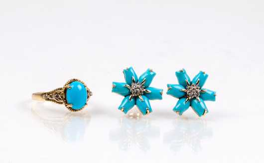 14K and Turquoise Ring and Earrings