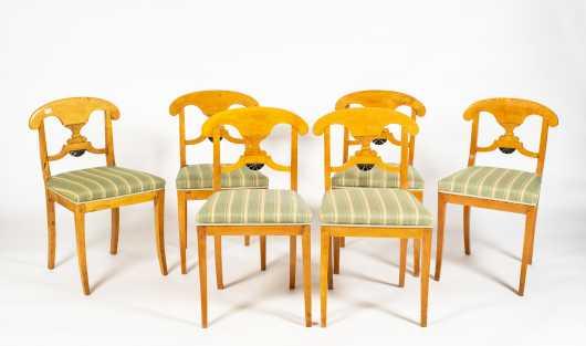 Set of Six Figured Maple Biedermeier Side Chairs