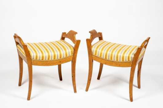 Matching Pair of Swedish Biedermeier Window Seats