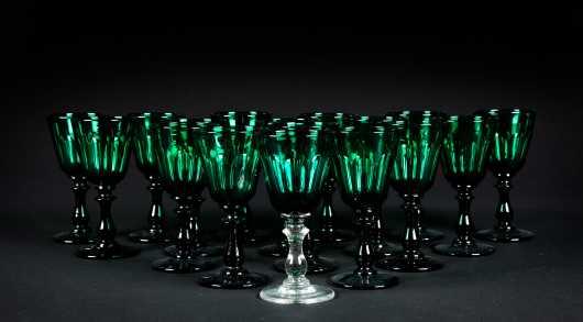 Set of Seventeen Blown Emerald Green Cordials