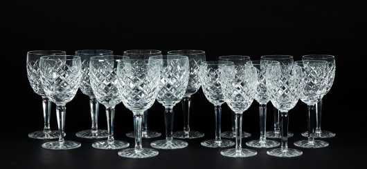 Sixteen Waterford Glass Waters and Wines