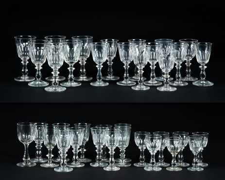 Large Similar Group of Cut Blown Cordial Glass