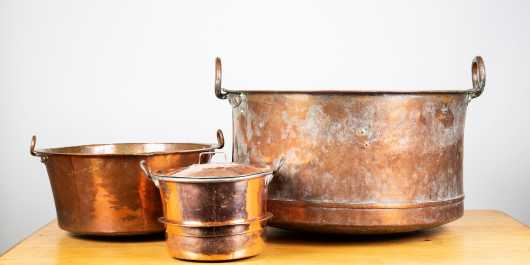 Swedish Lot of Antique Copper Cooking and Fireplace Pots