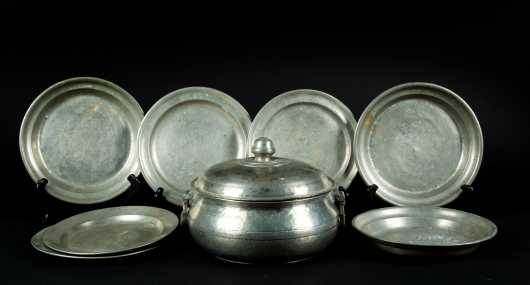 Lot of Swedish and Other Old Pewter