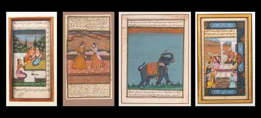 Four Persian Watercolor and Ink Calligraphy Works of Art