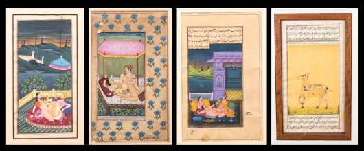 Four Intimate Watercolor and Calligraphy Works of Art