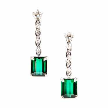 Art Deco Style Tourmaline and Diamond Drop Earrings