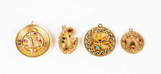 Four Yellow Gold 14K Charms with Gemstones