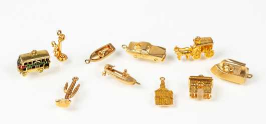 Ten Yellow Gold Charms