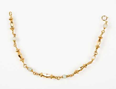 18K Gold and Pearl Link Bracelet