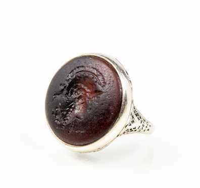 Antique White Gold FIligree Intaglio Ring