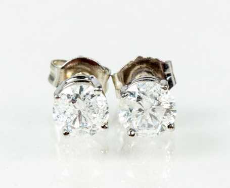 Approximately One Carat Diamond Studs in Platinum