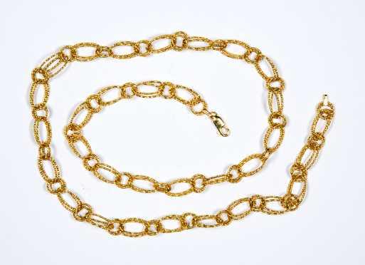 14K Gold Oval link necklace