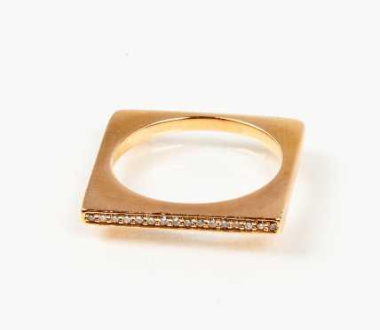 14K Rose Gold and Diamond Modern Square Ring