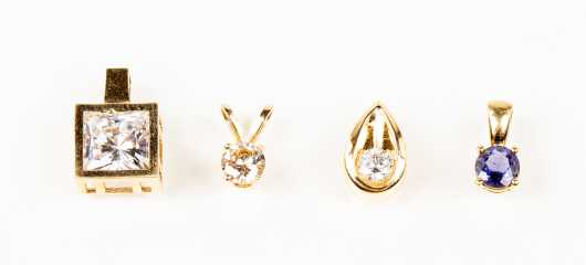 Lot of Four Diamond and Gemstone Pendants