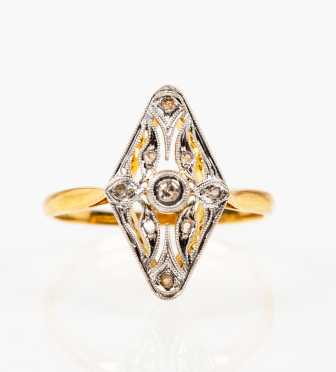 Antique Diamond Openwork Navette Ring
