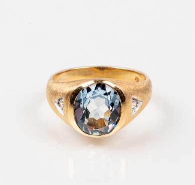 Large Gypsy Set Aquamarine Ring