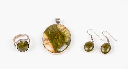 Three Piece Set of Sterling and Stone Jewelry