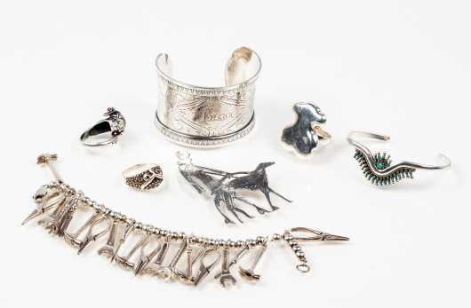 Lot of Seven Pieces Silver Jewelry