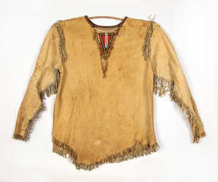 20thC Native American Hide War Shirt