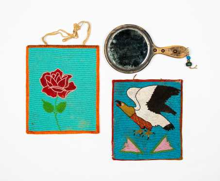 Two 20thC Native American Beaded Friendship Bags with Mirror