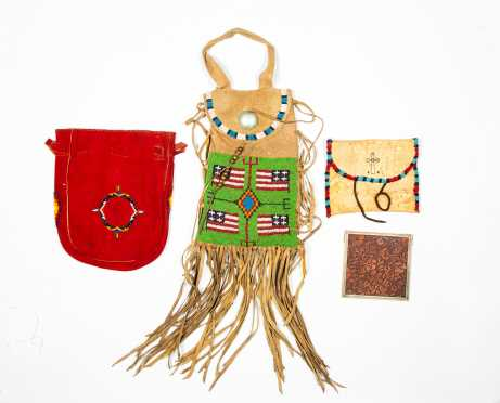 Three 20thC Native American Beaded Bags with Mirror