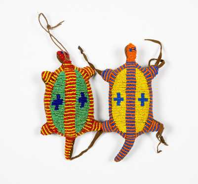 Two Beaded Native American Turtles