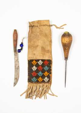Native American Beaded Knife Pouch with Awl and Knife
