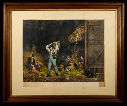 """Currier and Ives """"Husking"""" Large Folio"""