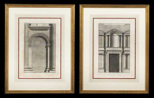 Pair of Architectural Etchings of Doorways