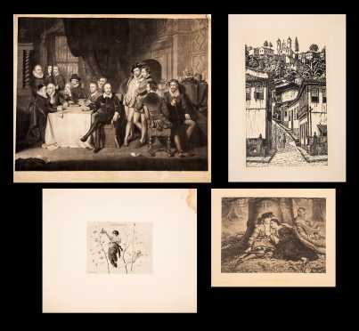 Lot of Four Antique Prints