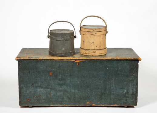 Blue Painted Blanket Box and Two Firkins