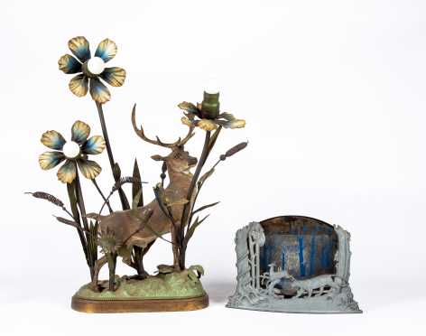 Patinated Metal Stag Lamp and Illuminated Woodland Scene