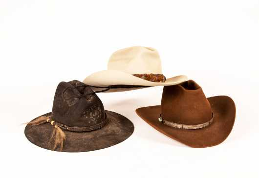 Three Felt Cowboy Style Hats
