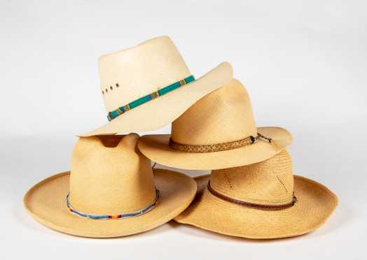 Four Straw Cowboy Style Hats