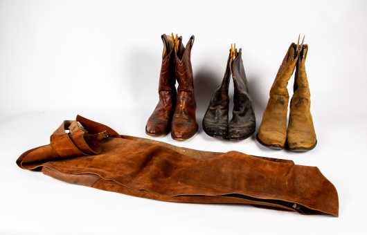 Three Pairs of Cowboy Boots and Suede Chaps