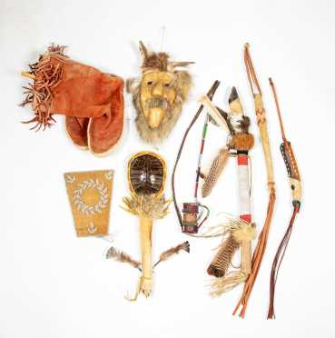 Seven Native American Ceremonial Objects and Pair of Moccasins
